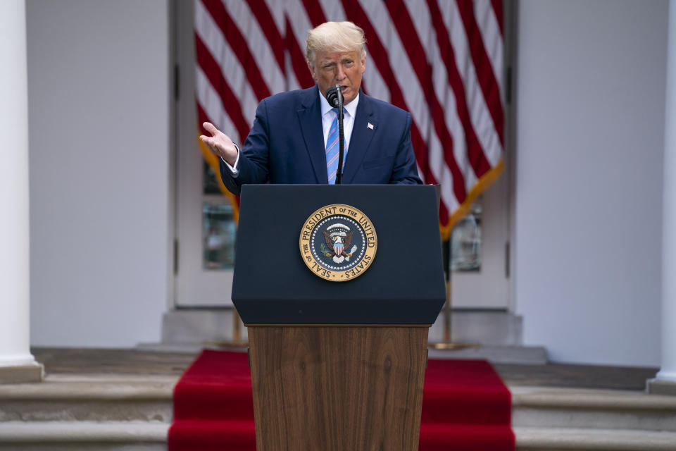 President Donald Trump speaks about coronavirus testing strategy, in the Rose Garden of the White House, Monday, Sept. 28, 2020, in Washington. (AP Photo/Evan Vucci)