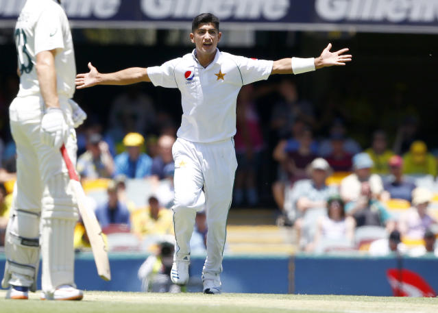 Pakistan's Naseem Shah appeals for the wicket of Australia's David Warner during their cricket test match in Brisbane, Australia, Saturday, Nov. 23, 2019. (AP Photo/Tertius Pickard)