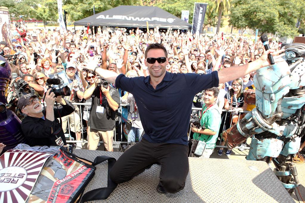 """<a href=""""http://movies.yahoo.com/movie/contributor/1800354816"""">Hugh Jackman</a> makes a special appearance to promote DreamWorks <a href=""""http://movies.yahoo.com/movie/1810130487/info"""">Real Steel</a> at the 2011 Comic-Con on July 21, 2011 in San Diego, California."""