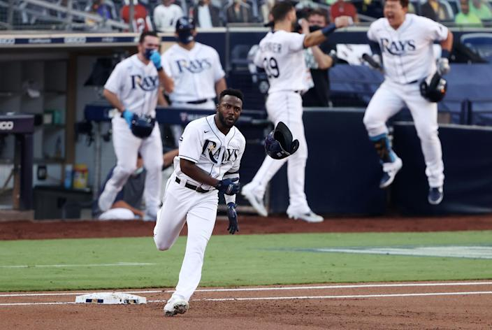 Randy Arozarena and the Rays advanced to the World Series by beating the Astros in Game 7 of the ALCS. (Photo by Ezra Shaw/Getty Images)