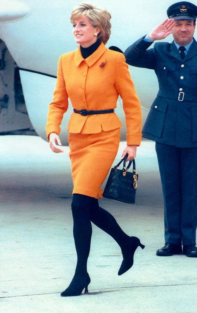 The bag was named after Princess Diana in 1995, pictured on a visit to Merseyside in November 1995. (Getty Images)