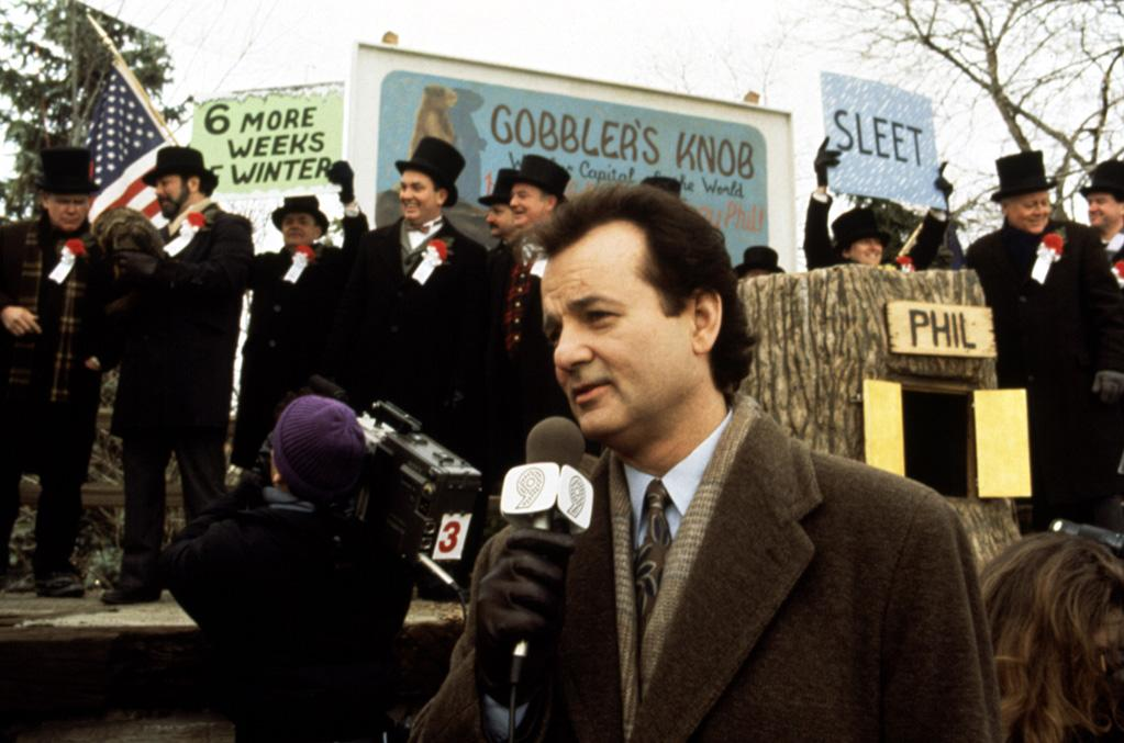 """<a href=""""http://movies.yahoo.com/movie/groundhog-day/"""">GROUNDHOG DAY</a> <br> Directed by: Harold Ramis<br>Starring: Bill Murray, Andie MacDowell, Stephen Tobolowsky"""