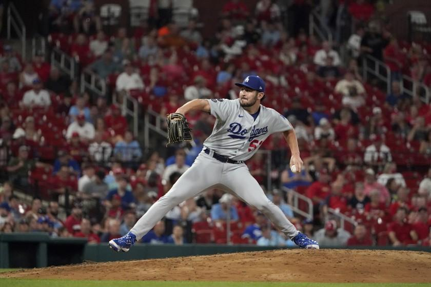 Los Angeles Dodgers relief pitcher Alex Vesia throws during the third inning of a baseball game against the St. Louis Cardinals Tuesday, Sept. 7, 2021, in St. Louis. (AP Photo/Jeff Roberson)