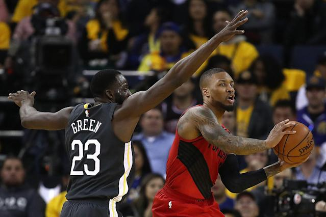 Draymond Green pressures Damian Lillard in Game 2 of the Western Conference finals Thursday night. (Photo by Ezra Shaw/Getty Images)