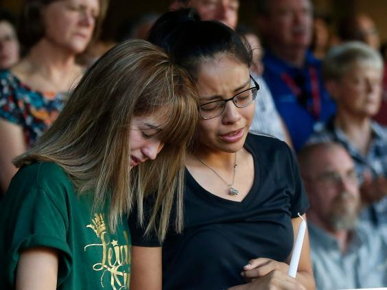 Friends of a high school student among the seven killed in a Texas mass shooting gathered to mourn (AP)
