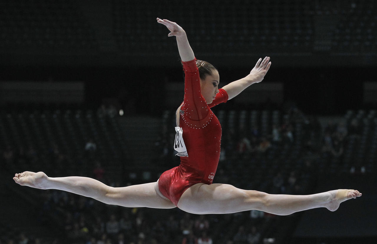 McKayla Maroney from the U.S. performs on the balance beam, during the qualification round at the artistic gymnastics World Championships in Antwerp, Belgium, Wednesday, Oct. 2, 2013. The event takes place until Sunday, Oct. 6. (AP Photo/Yves Logghe)