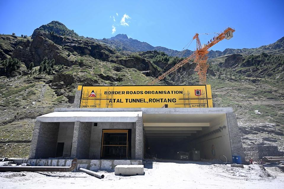 This photograph shows the north portal of the Atal Rohtang Tunnel in Teling village.