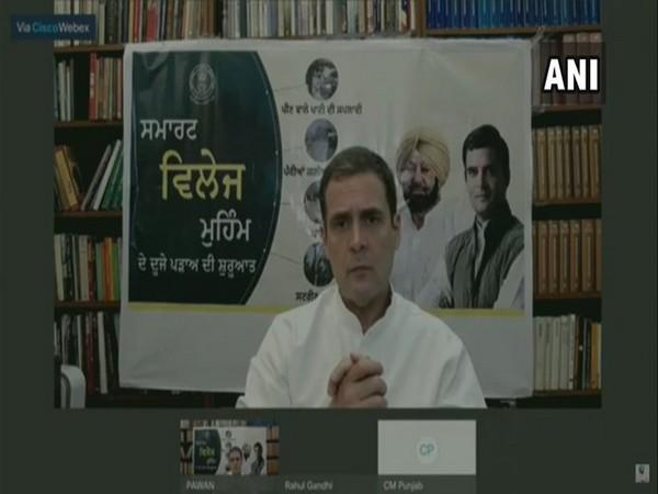 Congress MP Rahul Gandhi speaking at a video conference on Saturday.