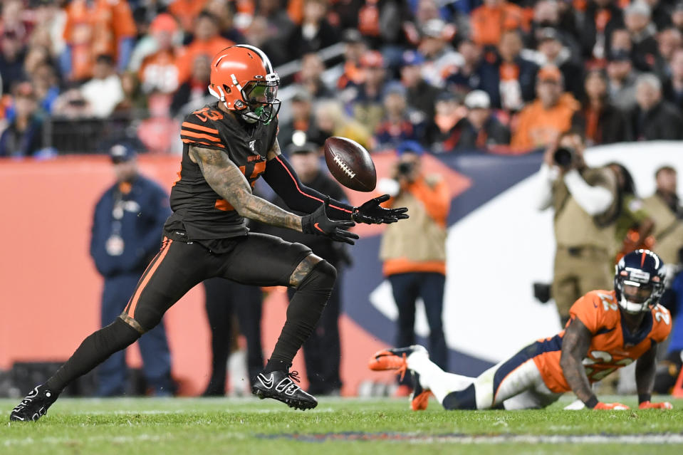 DENVER, CO - NOVEMBER 3: Odell Beckham (13) of the Cleveland Browns wrangles a pass that came out of his grasp momentarily against the Denver Broncos during the fourth quarter of Denver's 24-19 win on Sunday, November 3, 2019. (Photo by AAron Ontiveroz/MediaNews Group/The Denver Post via Getty Images)