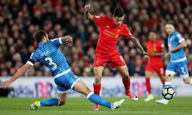 "<span class=""element-image__caption"">Steve Cook dispossesses Philippe Coutinho during Bournemouth's 2-2 draw with Liverpool at Anfield last week.</span> <span class=""element-image__credit"">Photograph: Martin Rickett/PA</span>"