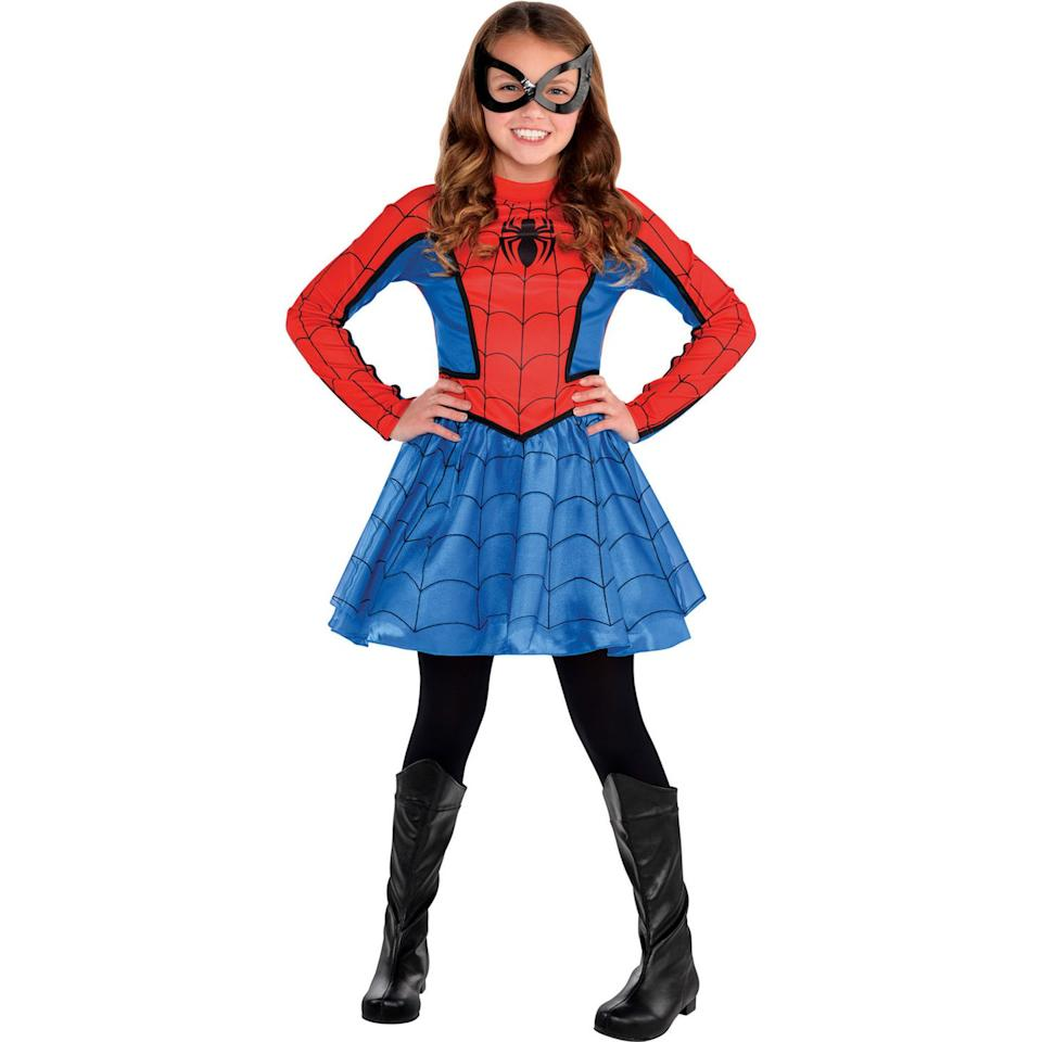 "<p>$30</p><p><a rel=""nofollow"" href=""https://www.partycity.com/r/girls-red-spider-girl-costume-P536286.html?"">SHOP NOW</a></p><p>Those playground monkey bars are no problem when you're used to swinging building-to-building on a thread.  </p>"