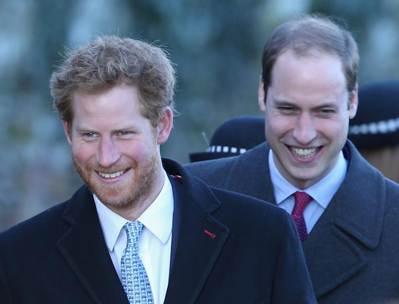 Prince Harry and Prince William laughing together