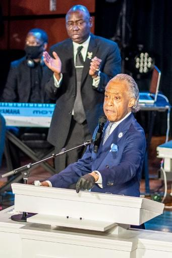 US civil rights leader Al Sharpton speaks during a memorial service in honor of George Floyd on June 4, 2020, at North Central University's Frank J. Lindquist Sanctuary in Minneapolis, Minnesota