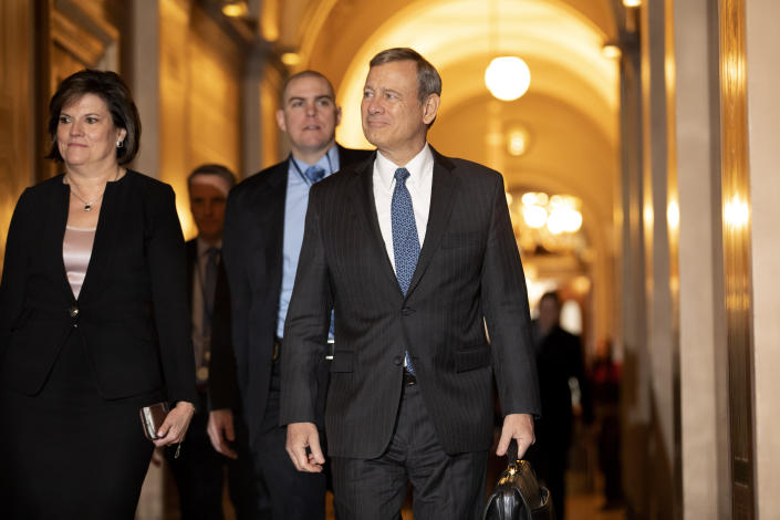 Chief Justice John Roberts arrives on Capitol Hill on Friday. (Jacquelyn Martin/AP)