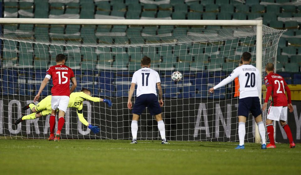 Italy's Manuel Locatelli (not in the picture) scores against Bulgaria during the World Cup 2022 Group C qualifying soccer match between Bulgaria and Italy at Vassil Levski stadium, in Sofia, Sunday, March 28, 2021. (AP Photo/ Tony Uzunov)