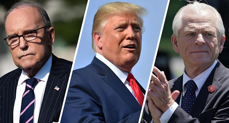 White House economic adviser Larry Kudlow. (Photo: Saul Loeb/AFP/Getty Images); President Trump. (Photo: Nicholas Kamm/AFP/Getty Images); Peter Navarro, White House trade and manufacturing policy director. (Photo: Chip Somodevilla/Getty Images)