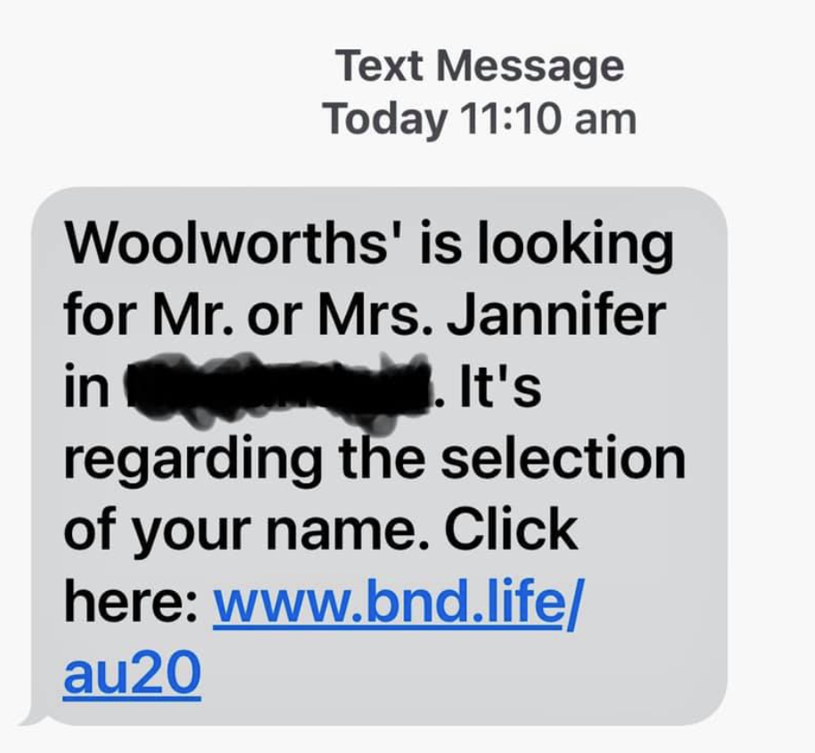 Hoax text message with name and location of a Woolworths customer.