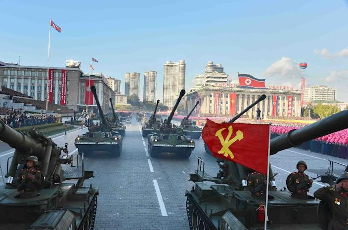 A military parade is seen taking place at Kim Il-Sung square in Pyongyang, in October 2015 (AFP Photo/-)