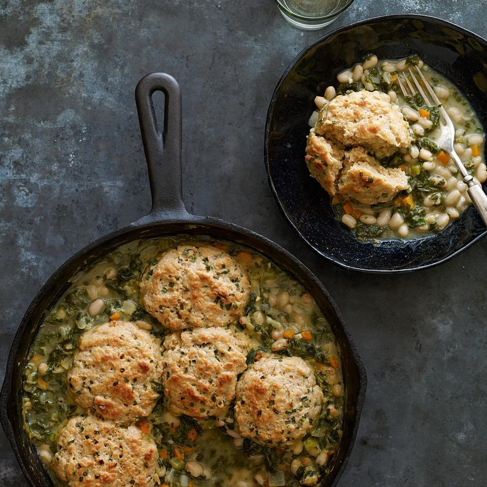 <p>In this vegetarian white bean potpie recipe, kale and hearty white beans are topped with easy, homemade chive biscuits. If desired, add a little shredded Gruyère or Cheddar cheese to the biscuit dough.</p>