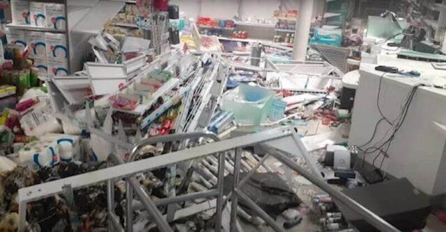 Heavy damage caused to a Clicks retail store by the protesters