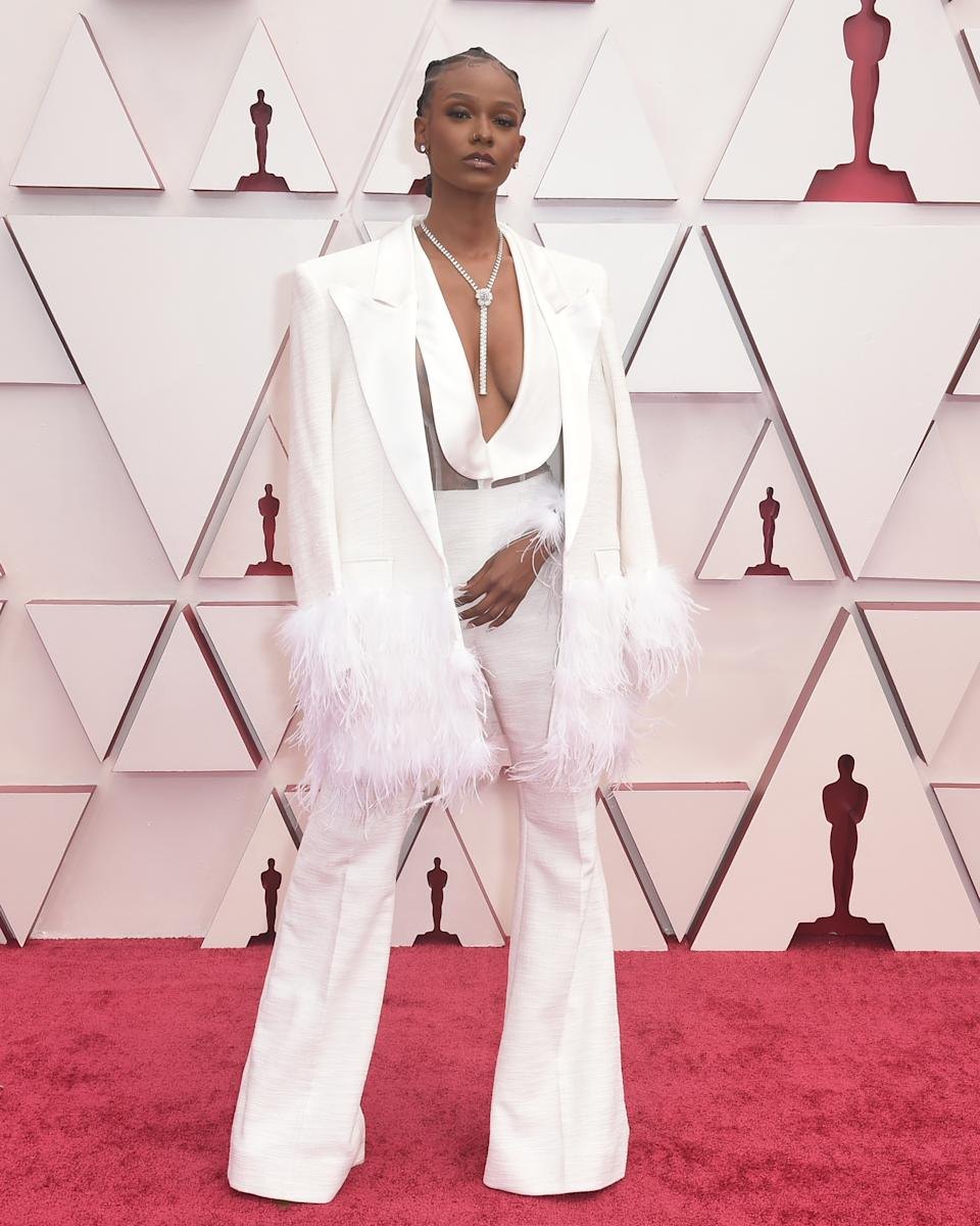 US singer and Grammy award winner Tiara Thomas stunned with her plunging suit. Photo: Getty