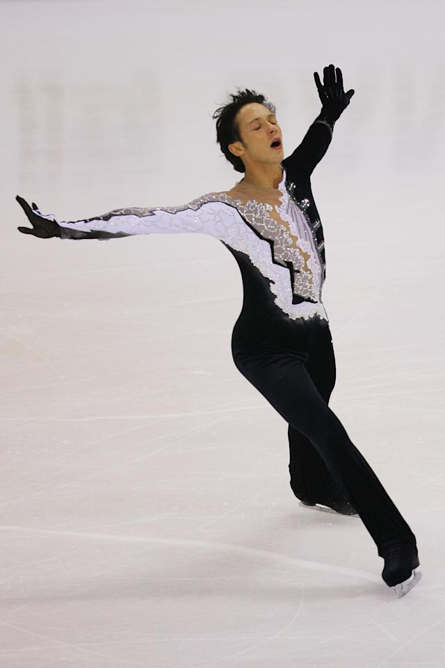 Skatingin themen's short programduring the Cup of China Figure Skating competition, held at Harbin International Conference Exhibition and Sports Center on Nov. 9, 2007, in Harbin, China.
