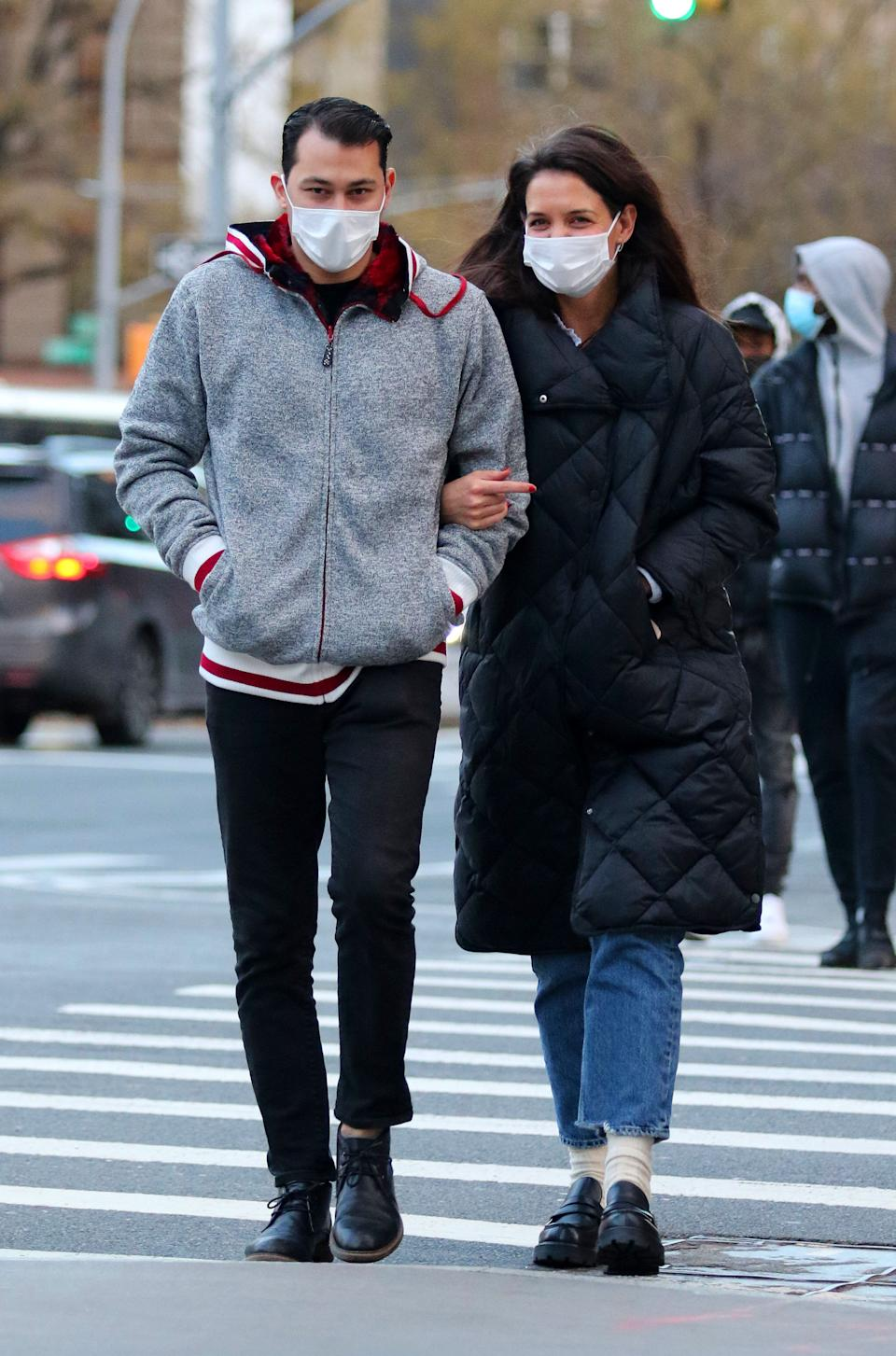 Katie Holmes wears a Mango Padded Coat while out and about in New York.  (Getty Images)