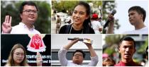 This combination of file pictures shows some of the protest leaders charged with insulting the monarchy in Thailand