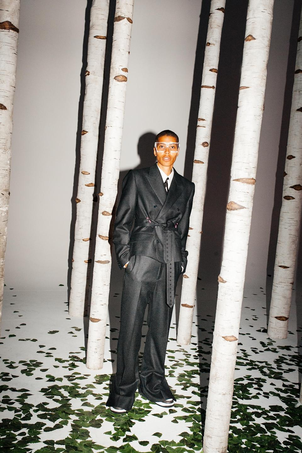 Poet and activist Kai-Isaiah Jamal models a look from Virgil Abloh's spring 2022 men's collection for Louis Vuitton. - Credit: Kuba Dabrowski/WWD
