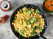 """""""I'm excited to up my side dish game with this quick and easy corn salad, which goes perfectly with pretty much anything else you'd bring to a barbecue. After all, who doesn't love juicy, charry bites of grilled corn, especially when it's mixed with avocados and serrano chilies?"""" <em>—Dondre Stuetly, assistant visuals editor</em> <a href=""""https://www.bonappetit.com/recipe/grilled-corn-salad-with-hot-honey-lime-dressing?mbid=synd_yahoo_rss"""" rel=""""nofollow noopener"""" target=""""_blank"""" data-ylk=""""slk:See recipe."""" class=""""link rapid-noclick-resp"""">See recipe.</a>"""