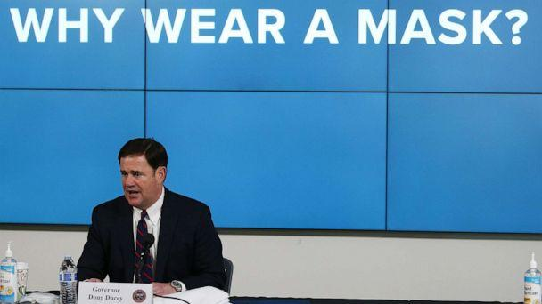 PHOTO: In this Thursday, July 9, 2020, photo, Arizona Republican Gov. Doug Ducey speaks about the latest coronavirus update in Arizona and benefits of wearing a mask during a news conference in Phoenix. (Ross D. Franklin/AP)