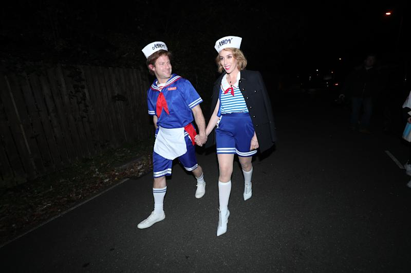 Dermot O'Leary and wife Dee Koppang arrive at a Halloween party hosted by Jonathan Ross at his house in north London. (Photo by Yui Mok/PA Images via Getty Images)