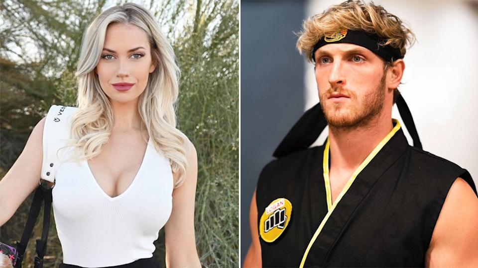 Pictured here, social media stars Paige Spiranac and Logan Paul.