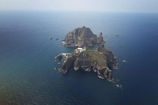 View of the remote disputed islands, known as Dokdo in Korea and Takeshima in Japan