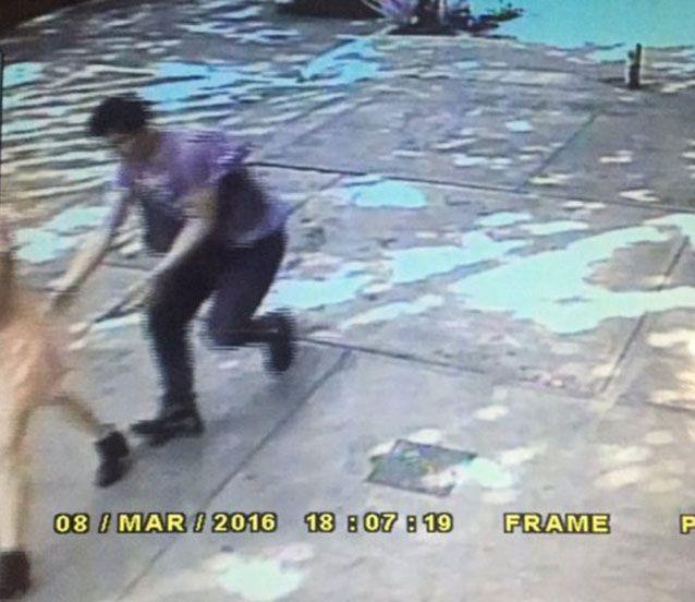 CCTV footage shows a man creeping behind Andrea Noel with his hands up her skirt. Picture: Twitter/metabolizedjunk