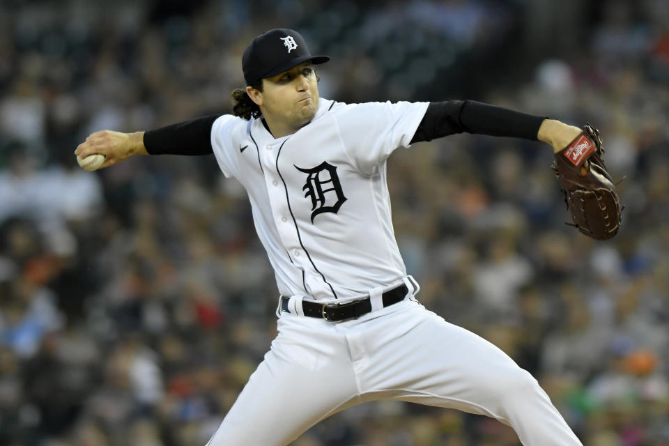 Detroit Tigers starting pitcher Casey Mize throws against the Kansas City Royals in the first inning of a baseball game, Friday, Sept. 24, 2021, in Detroit. (AP Photo/Jose Juarez)