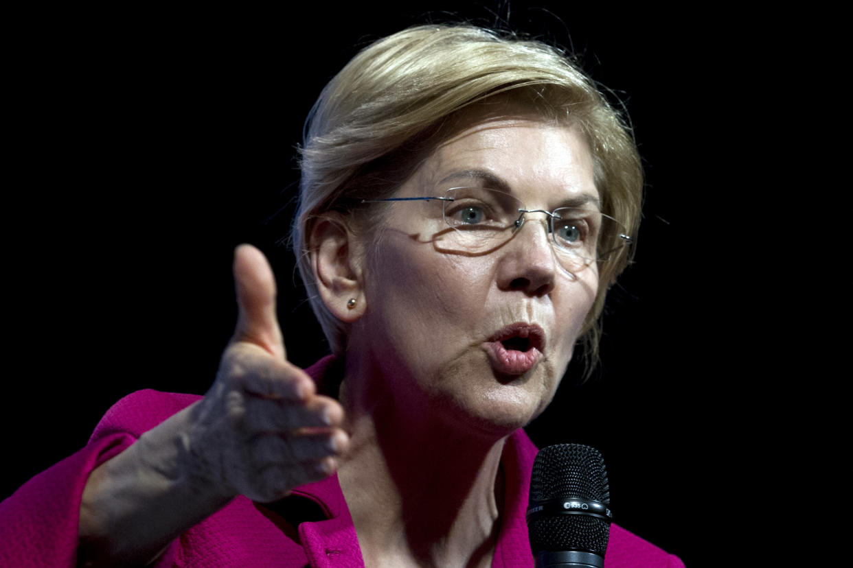 Democratic presidential candidate Sen. Elizabeth Warren of Massachusetts speaks in Washington on April 1. (Photo: Jose Luis Magana/AP)