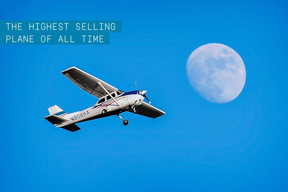 """<p>More Cessna 172 Skyhawks have been sold than any other aircraft, period. First released in 1956, this four-seat, single-engine, high wing personal aircraft has been sold more than 43,000 times and is still in production today.</p><p>✈ <strong><a href=""""https://www.popularmechanics.com/flight/a29417998/cessna-badass-plane/"""" rel=""""nofollow noopener"""" target=""""_blank"""" data-ylk=""""slk:Why the Cessna is Such a Badass Plane"""" class=""""link rapid-noclick-resp"""">Why the Cessna is Such a Badass Plane</a></strong></p><p>Reliable, affordable, and stable, the Skyhawk is the staple plane of <a href=""""https://www.popularmechanics.com/flight/a27006048/getting-started-in-flying/"""" rel=""""nofollow noopener"""" target=""""_blank"""" data-ylk=""""slk:flight training schools"""" class=""""link rapid-noclick-resp"""">flight training schools </a>everywhere. Its modest performance and longevity creates the ideal mode of transportation for private pilots across the globe. Skyhawk's success drove the <a href=""""https://www.popularmechanics.com/flight/a21986/when-a-cessna-goes-to-war/"""" rel=""""nofollow noopener"""" target=""""_blank"""" data-ylk=""""slk:Cessna Aircraft Company"""" class=""""link rapid-noclick-resp"""">Cessna Aircraft Company</a> to <a href=""""https://www.popularmechanics.com/flight/a21986/when-a-cessna-goes-to-war/"""" rel=""""nofollow noopener"""" target=""""_blank"""" data-ylk=""""slk:domination"""" class=""""link rapid-noclick-resp"""">domination</a> in the light aircraft market.</p>"""