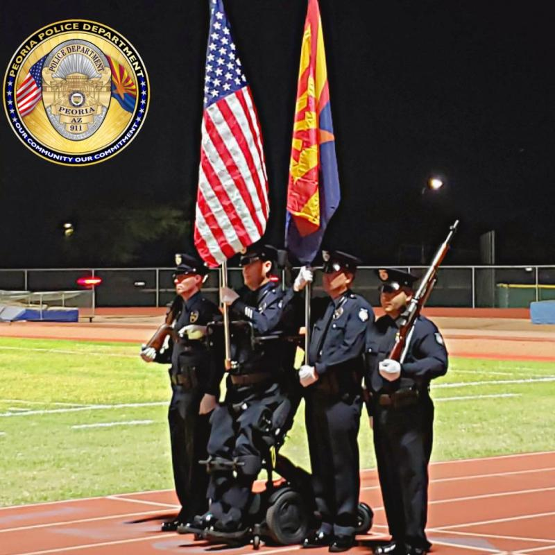 Officer William Weigt of the Peoria Police Department in Arizona stood for the National Anthem for the first time since he was paralyzed in 2005. (Photo: Facebook/Peoria Police Department)