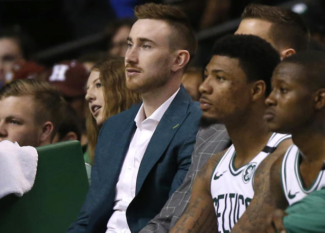 The Celtics expect Gordon Hayward to be ready for training camp after he had surgery to remove screws from his broken leg on Wednesday. (AP)