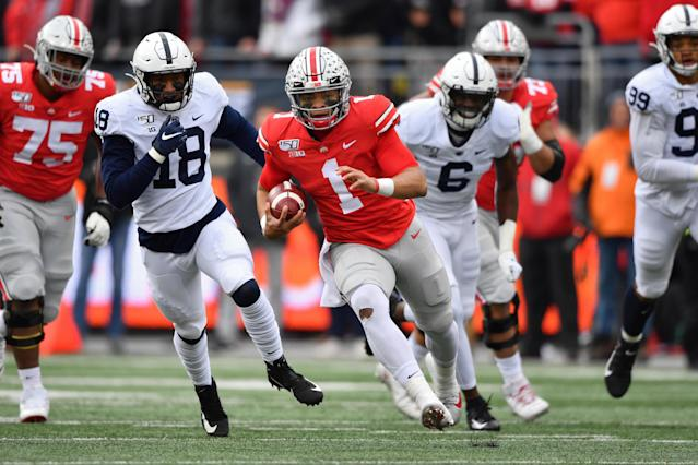 Ohio State has won three straight Big Ten titles but could face stiff competition from Penn State and Michigan in its own division. (Photo by Jamie Sabau/Getty Images)