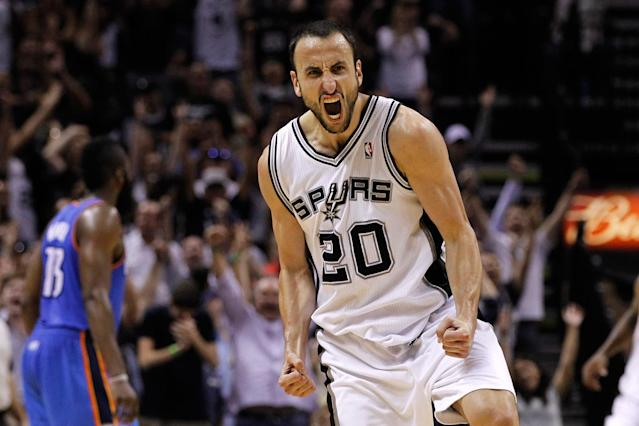 Few players in NBA history have ever matched Manu Ginobili's intensity, or his propensity for cranking it up in the biggest games and the biggest moments. (Getty)