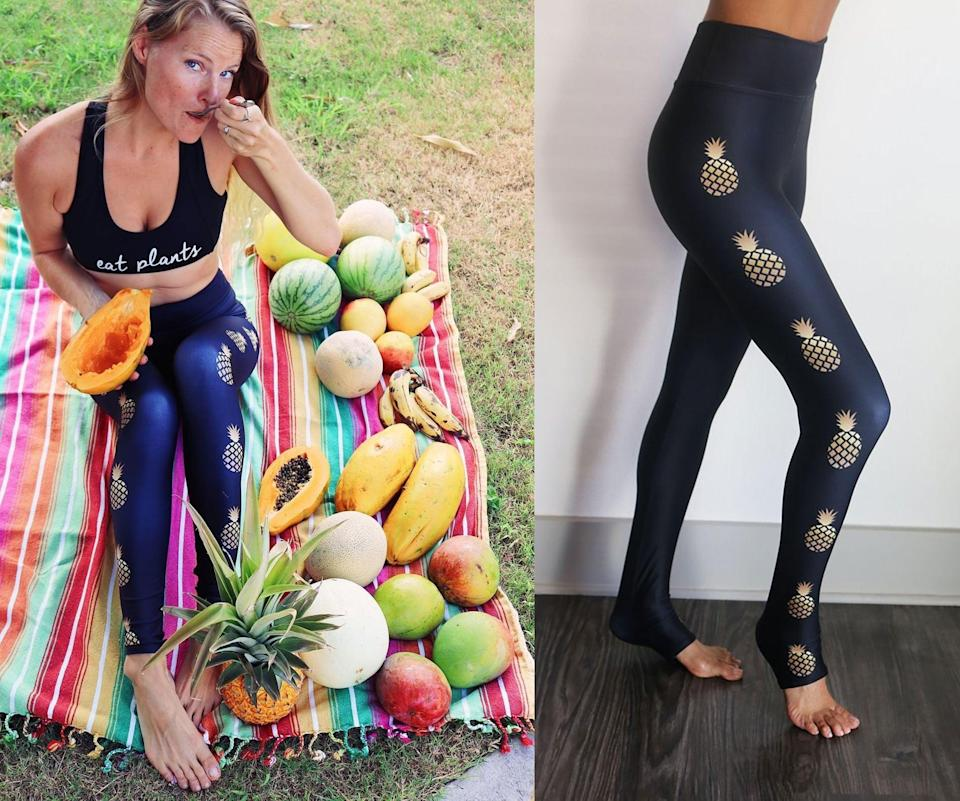 """<p>""""I went to Hawaii for the first time this year and now every time I see a pineapple, it reminds me our our magical trip! I adore these <a href=""""https://www.popsugar.com/buy/Sun-Lovin-Roots-Golden-Hour-Pineapple-Frankie-leggings-578312?p_name=Sun%20Lovin%27%20Roots%20Golden%20Hour%20Pineapple%20Frankie%20leggings&retailer=sunlovinroots.com&pid=578312&price=88&evar1=fit%3Auk&evar9=47513257&evar98=https%3A%2F%2Fwww.popsugar.com%2Ffitness%2Fphoto-gallery%2F47513257%2Fimage%2F47515425%2FSun-Lovin-Roots-Pineapple-Leggings&list1=healthy%20living&prop13=api&pdata=1"""" class=""""link rapid-noclick-resp"""" rel=""""nofollow noopener"""" target=""""_blank"""" data-ylk=""""slk:Sun Lovin' Roots Golden Hour Pineapple Frankie leggings"""">Sun Lovin' Roots Golden Hour Pineapple Frankie leggings</a> ($88), not only because they have metallic pineapples all along the legs, but because they are so darn comfortable! The fabric is so buttery soft and stretchy, and they feel so lightweight and breathable. I love the thick three-inch wide high waistband that keeps me covered while working out (or lounging in the sun!)"""" - JS</p>"""