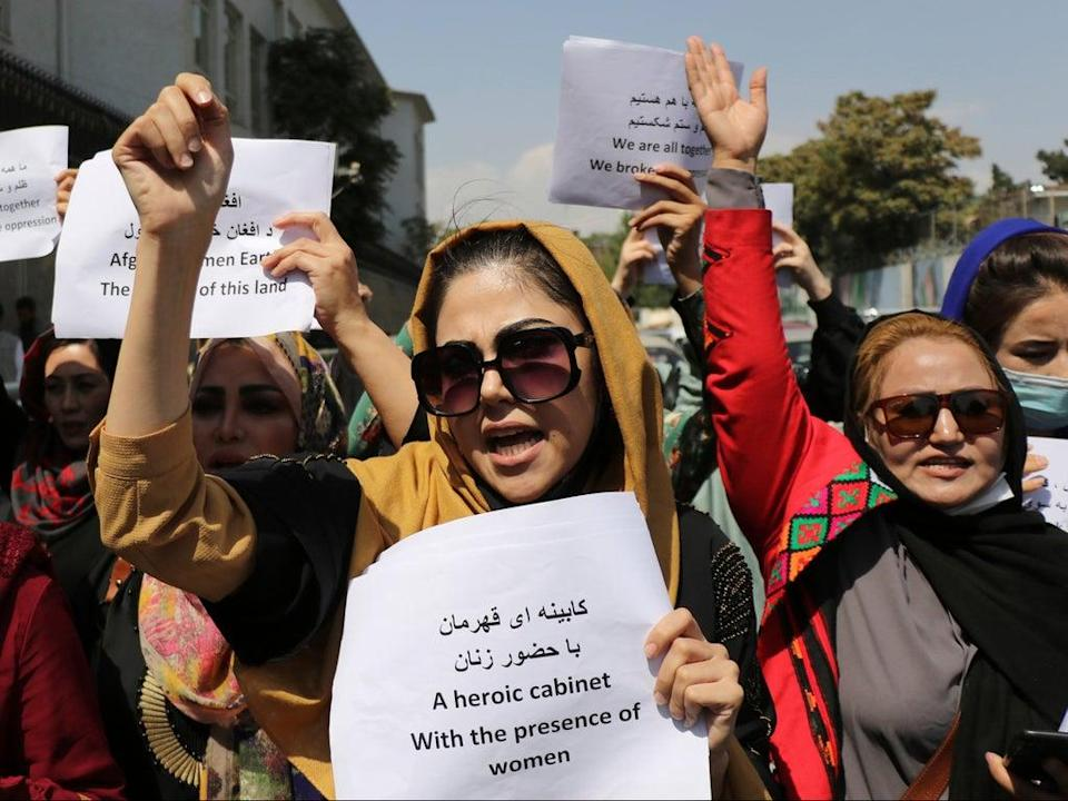 Women assemble to call for their rights under Taliban rule at a protest in the capital of Kabul in early September  (AP)