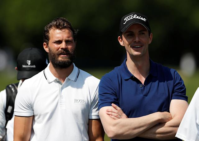 Golf - European Tour - BMW PGA Championship - Wentworth Club, Virginia Water, Britain - May 23, 2018 Actors Jamie Dornan and Matthew Goode during the pro-am Action Images via Reuters/Paul Childs