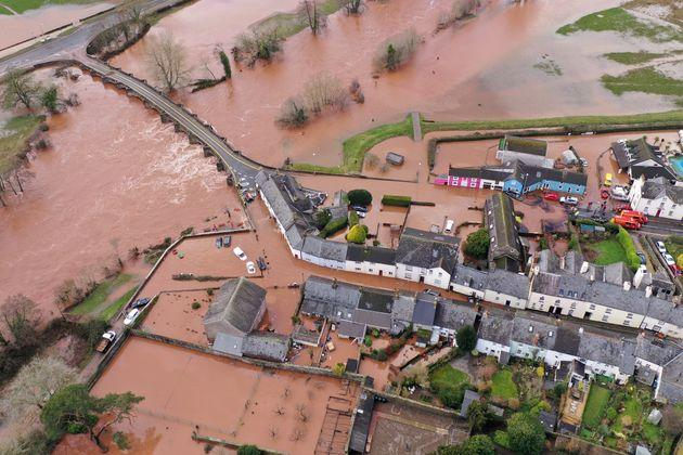 An aerial view of the Welsh village of Crickhowell which has been cut off as the river Usk bursts its banks near the Bridge End Inn.