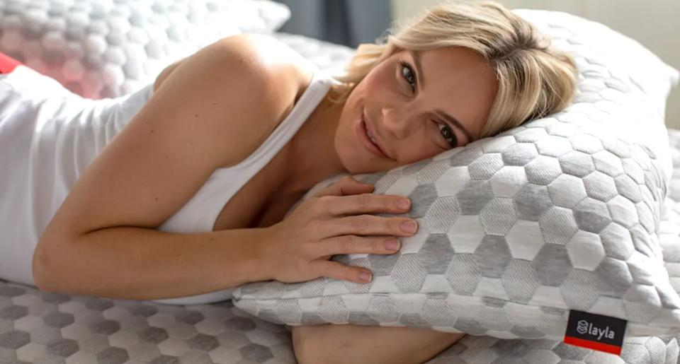 """It'sdesigned to be luxuriously soft, while still providing sturdy support and staying cool. The cover is made of a breathable polyester/viscose blend with CuTEC performance copper fibers woven into it to keep it cleaner and cooler.<br /><br /><strong>Promising review:</strong>""""The most comfortable pillow that I have ever owned. Love that you can 'adjust' the height of the pillow by simply unzipping the cover and removing some of the foam stuffing."""" — <a href=""""https://go.skimresources.com?id=38395X987171&xs=1&xcust=HPProductsForHotSleepers-7-2021--60c0db4be4b0b449dc34948b-&url=https%3A%2F%2Flaylasleep.com%2Fproduct%2Flayla-pillow%2F"""" target=""""_blank"""" rel=""""noopener noreferrer"""">Patricia P.</a><br /><br /><strong><a href=""""https://go.skimresources.com?id=38395X987171&xs=1&xcust=HPProductsForHotSleepers-7-2021--60c0db4be4b0b449dc34948b-&url=https%3A%2F%2Flaylasleep.com%2Fproduct%2Flayla-pillow%2F"""" target=""""_blank"""" rel=""""noopener noreferrer"""">Get it from Layla Sleep for $109+ (available in two sizes).</a></strong>"""