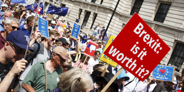 Pro-EU demonstrators in their tens of thousands flood Whitehall during the 'March for a People's Vote' in London, England, on June 23, 2018. The march was organised by campaigners to call for the terms of the UK's eventual Brexit deal to be put before the British people in the form of a public vote. Exactly two years have now passed since Britain's deeply divisive referendum on EU membership, with the country due to leave the union in March 2019. (Photo by David Cliff/NurPhoto via Getty Images)