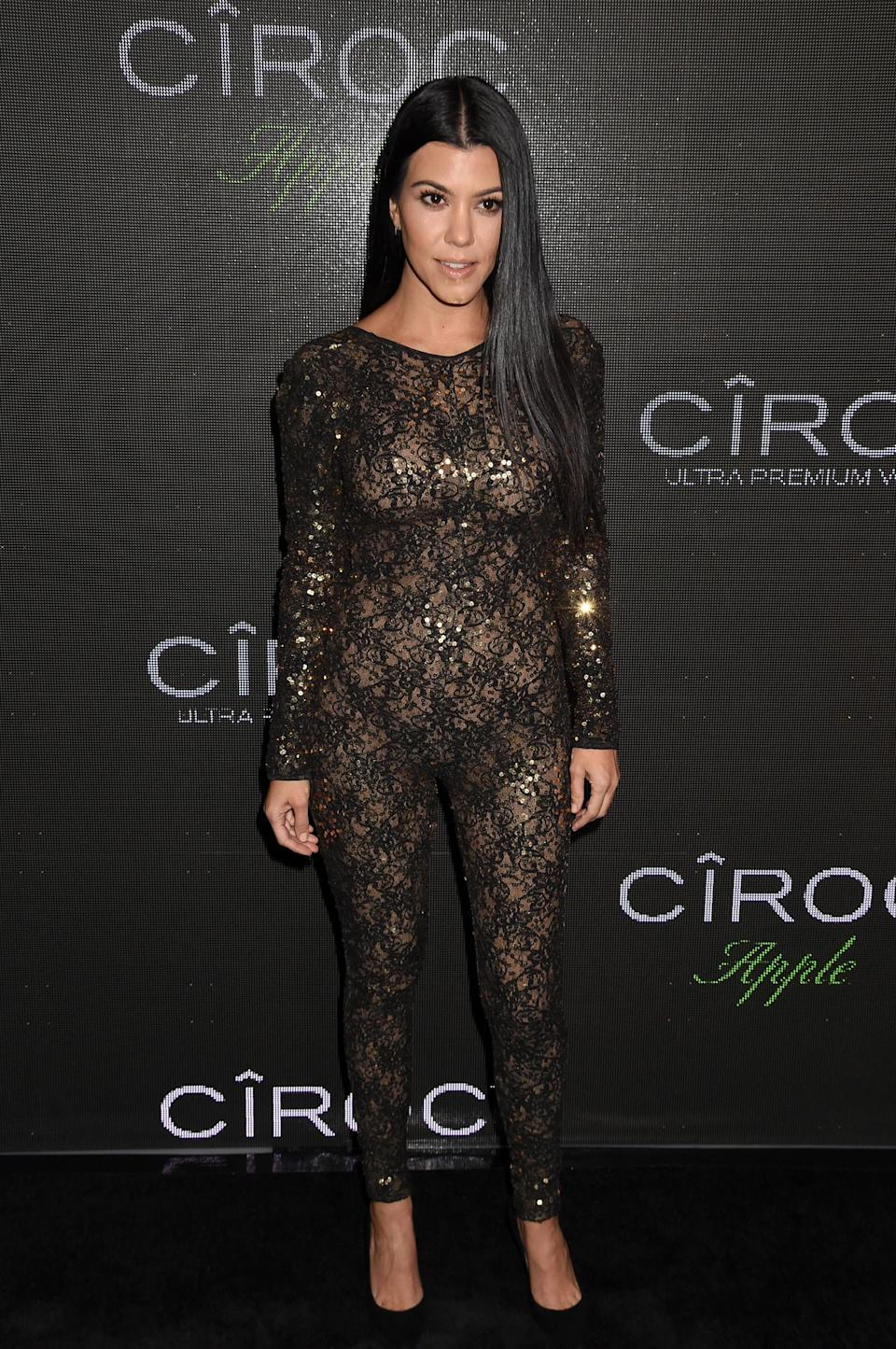 <p>The oldest Kardashian sister pulled off this risque look at a Ciroc party in November 2015. (Photo: Jeff Kravitz/FilmMagic) </p>