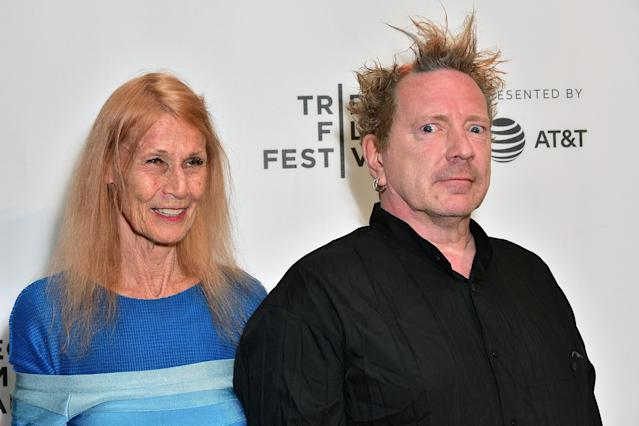 "John Lydon, aka Johnny Rotten and his wife Nora Forster attend the 2017 Tribeca Film Festival - ""The Public Image Is Rotten"" screening at Spring Studios on April 21, 2017 in New York City. (Photo by Brian Killian/WireImage)"